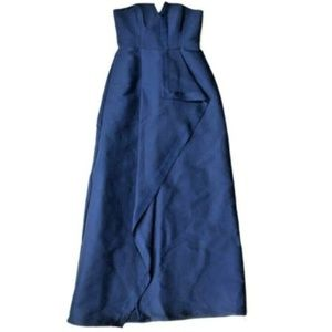 Halston Heritage 4 Small Strapless Navy Gown Dress